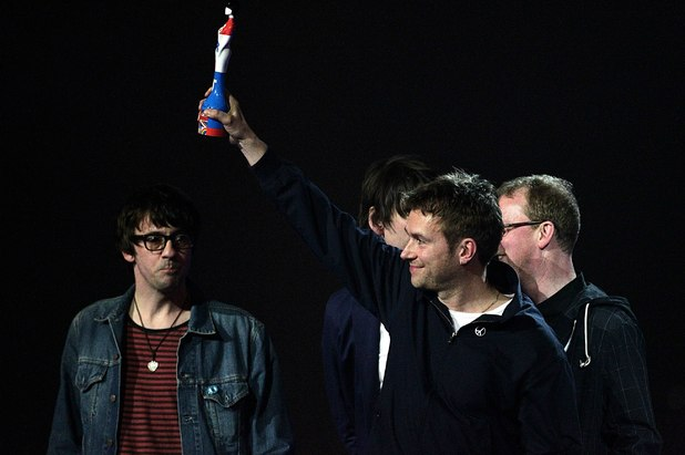 Blur collect the Outstanding Contribution to Music award during the 2012 Brit awards at The O2 Arena, London