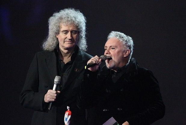 Roger Taylor and Brian May (left) on stage during the 2012 Brit awards at The O2 Arena, London