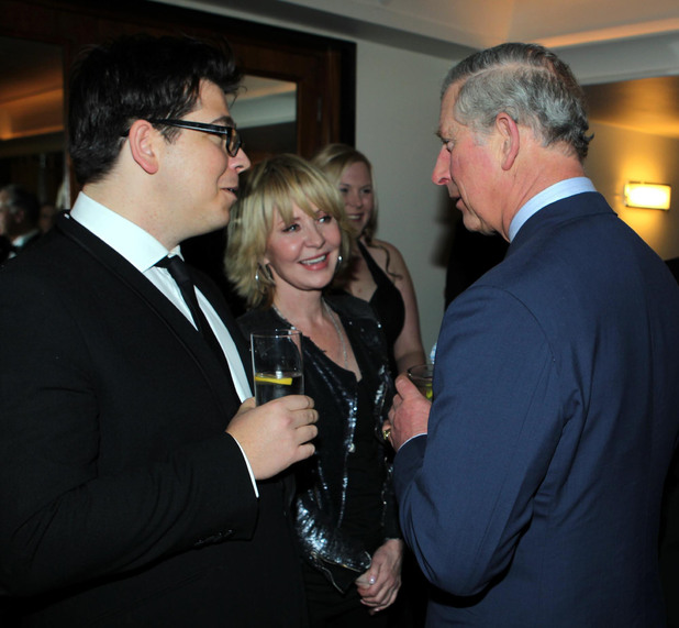 The Prince of Wales (right) meets Michael McIntyre (left), at the Prince's Trust's Invest in Futures gala dinner held at The Savoy, London