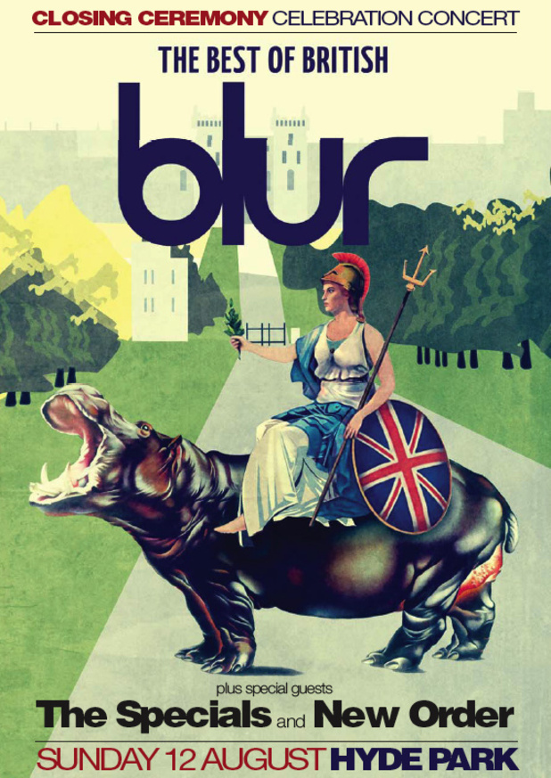 Blur Olympic Cosing Ceremony Concert Poster - 12th August, Hyde Park