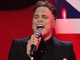 Olly Murs on stage during the 2012 Brit awards at The O2 Arena, London