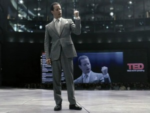 Prometheus&#39;s Guy Pearce gives a TEDTalk as Peter Weyland.