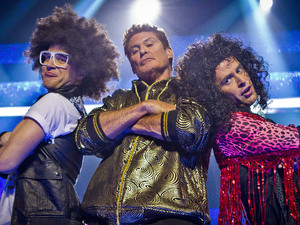 "Scott Mills & Olly Murs perform to LMFAO ""Rock Party Anthem"" with David Hasselhoff."