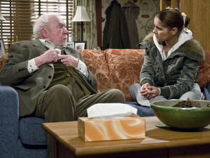 Rachel visits Sandy after she hears Ashley say he is not well enough to come to the pub. When she arrives, she discovers he did not come because he could not get himself there