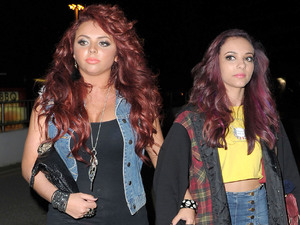 Jesy Nelson and Jade Thirlwall of Little Mix leaving their hotel after performing for the The X Factor Live Tour 2012. Manchester, England