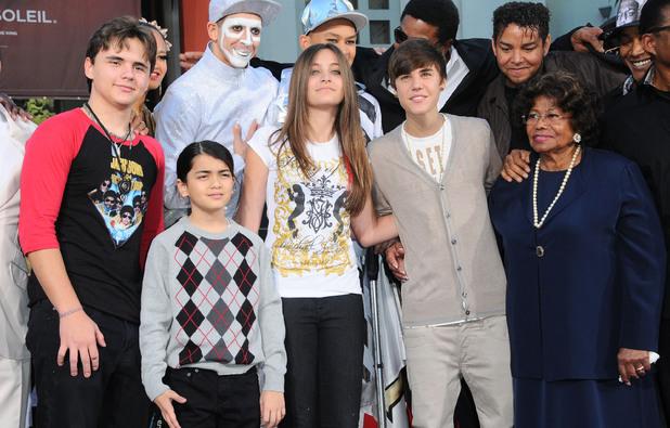 Prince Jackson, Prince Michael Jackson II, Paris Jackson, Justin Bieber and Katherine Jackson