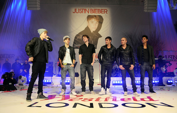 Justin Bieber and The Wanted at the Westfield London Christmas lights switching on ceremony, London, Britain - 07 Nov 2011