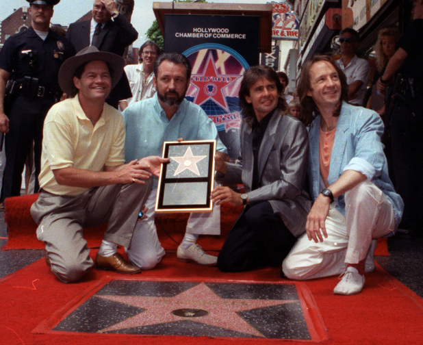 The Monkees, from left: Micky Dolenz, Mike Nesmith, Davy Jones and Peter Tork get a star on the Hollywood Walk of Fame, 1967