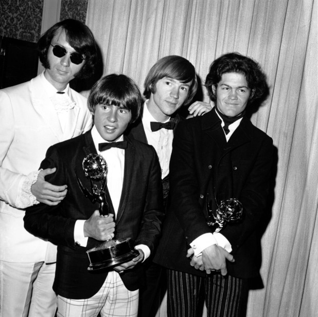 The Monkees, from left: Mike Nesmith, Davy Jones, Peter Tork and Micky Dolenz pose with their Emmy award at the 19th Annual Primetime Emmy Awards, 1967