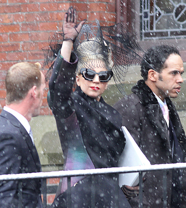 Lady Gaga arriving at Harvard University for the launch of the 'Born This Way Foundation'