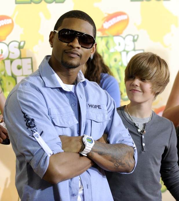 Usher, left, and Justin Bieber