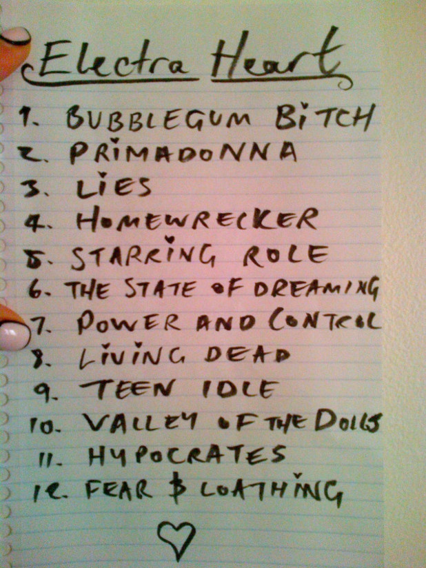 Marina and the Diamons: 'Electra Heart' tracklist