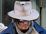 Johnny Depp seen leaving an apartment building in Tribeca