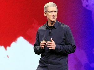 Apple CEO Tim Cook speaks during the event
