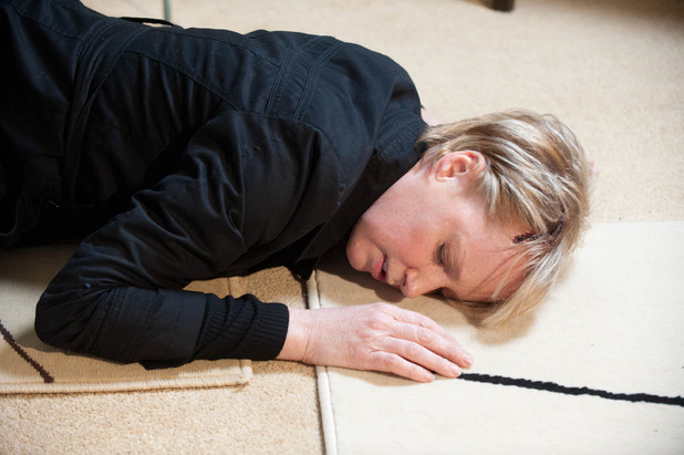 Sally lies unconscious on the floor. Has she become the next victim of Frank's killer?