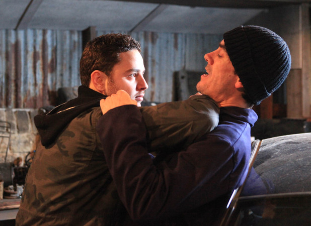 Adam Barton (Adam Thomas) puts Cain Dingle's (Jeff Hordley) life in danger