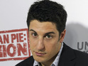Jason Biggs causes a wardrobe malfunction at the American Reunion premiere.