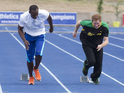 Watch Prince Harry and Usain Bolt battle it out in a 100-metre sprint.