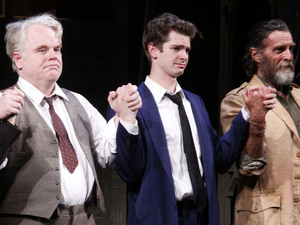 Philip Seymour Hoffman, Andrew Garfield and John Glover Broadway opening night curtain call for 'Death Of A Salesman' at the Ethel Barrymore Theatre. New York City, USA