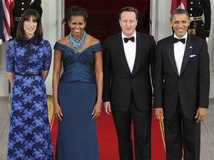 Samantha Cameron, First Lady Michelle Obama, British Prime Minister David Cameron and U.S. President Barack Obama