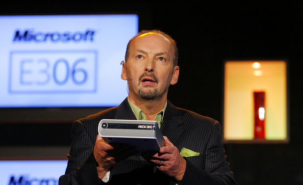 Peter Moore with the Xbox HD DVD player