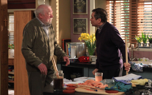 Ashley is furious when he leaves Sandy alone with Gabby and comes back to find that Sandy has left the tap on and flooded the kitchen