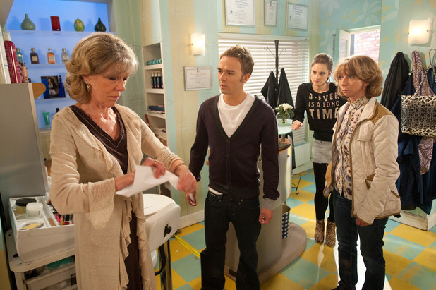 Audrey visits the salon and insists that David signs the business back to her