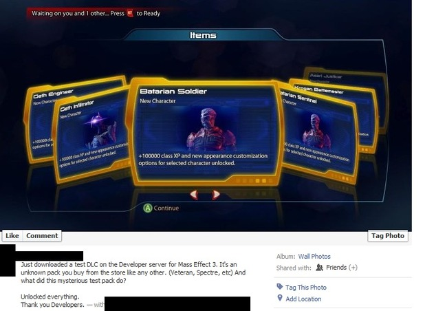 Mass Effect 3: Facebook screengrab