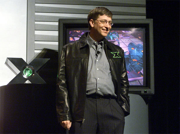Bill Gates demoing an Xbox prototype.