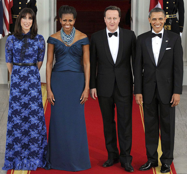 Samantha Cameron, Michelle Obama, British Prime Minister David Cameron and US President Barack Obama