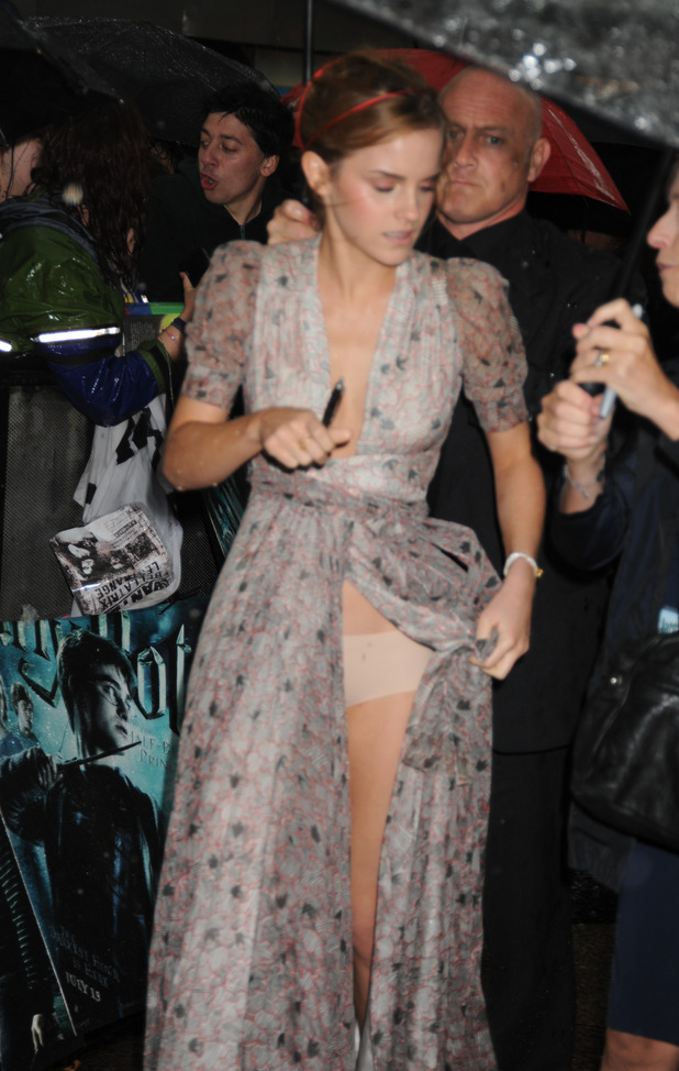 Next 10. Emma Watson suffers a wardrobe malfunction at a Harry Potter