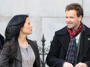 Lucy Liu and Johnny Lee Miller filming on set for &#39;Elementary&#39; pilot series in New York