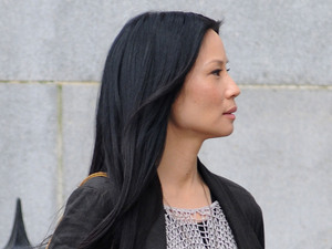 Lucy Liu and Johnny Lee Miller filming on set for 'Elementary' pilot series in New York