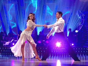Rachel Stevens and Vincent Simone perform, on the final of TV show &#39; Strictly Come Dancing &#39; Shown on BBC1
