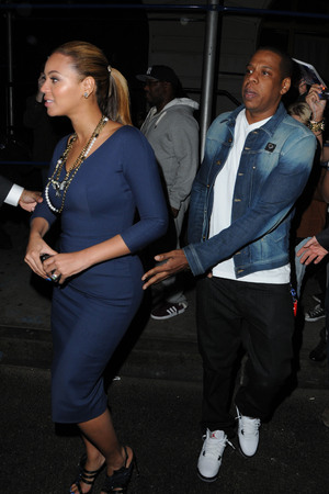 Beyonce Knowles and Jay-Z leaving Nobu restaurant