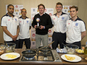 Footballers cook for Sport Relief - pics