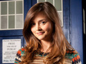 Time Lord's new companion poses in front of the TARDIS in first official photo.