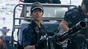 Rihanna takes on aliens at sea in the new trailer for 'Battleship'.