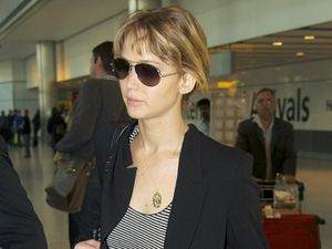 Jennifer Lawrence arriving at Heathrow airport after flying in from Los Angeles London