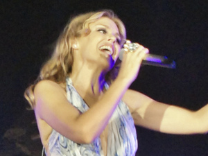 Kylie Minogue performs during a concert in front of Sphinx and the Great Pyramids in Giza, Egypt