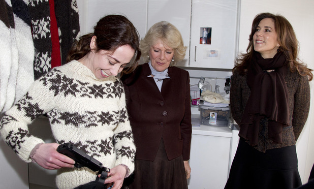 The Duchess of Cornwall with Crown Princess Mary of Denmark during a tour of the current set of TV Drama The Killing in Lynge, Denmark