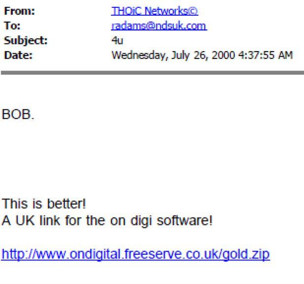 NDS e-mail from letter to BBC Panorama