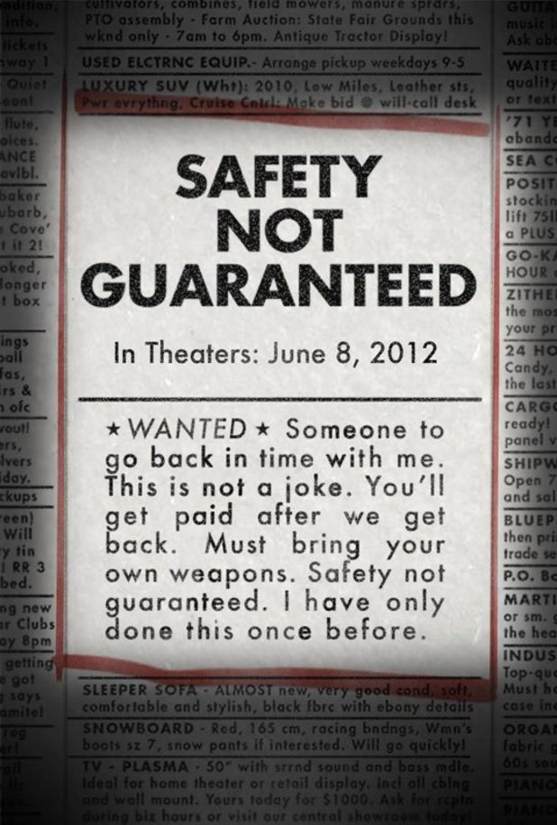 'Safety Not Guaranteed' poster