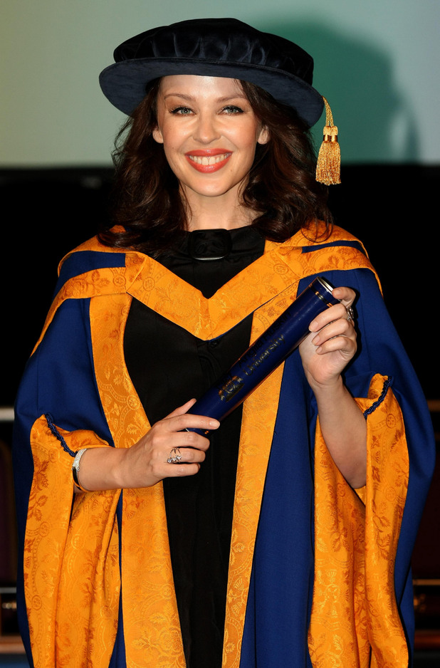 Kylie Minogue holds her honorary degree