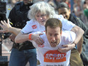 Today's celebrity pictures include Ann Widdecombe riding on Anton du Beke's back.