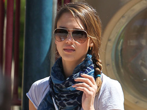 Jessica Alba seen with a new tattoo on her arm, spends time with her two daughters, Honor and baby Haven at Coldwater Canyon Park Beverly Hills, California