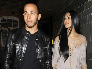 Lewis Hamilton and Nicole Scherzinger hold hands as they leave Hakkasan Mayfair
