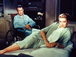 Rear Window still: James Stewart, Grace Kelly