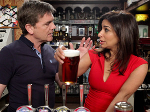 Karl tries to help Sunita as she is rushed off her feet at the pub, but she refuses to let him contribute