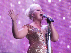 Claire Richards of Steps - The Ultimate Tour performing the opening night of their reunion tour at the Odyssey Arena Belfast, Northern Ireland